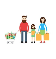 Family Shopping Man with shopping cart vector