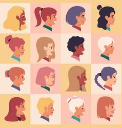 female profile faces women portraits various vector image