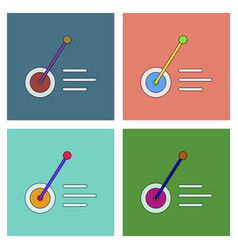Flat icon design collection kids wheel and stick vector