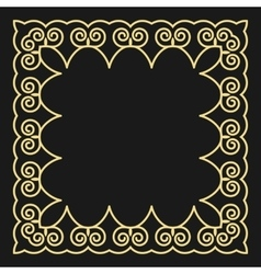 Frame in the fashionable outline style on a black vector image