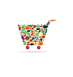 fruit and vegetable like shopping basket vector image