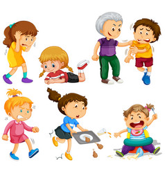 girls and boys in different activities vector image