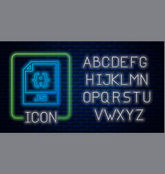 Glowing neon js file document download js button vector