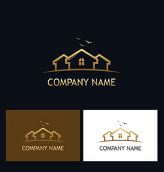 Gold house realty logo vector