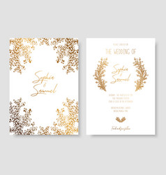 Gold invitation with floral branches gold cards vector
