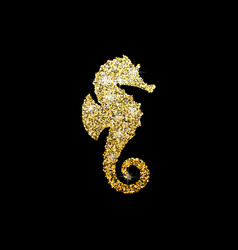 golden glitter seahorse on black background vector image