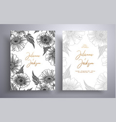 golden invitation with frame leaves and flowers vector image