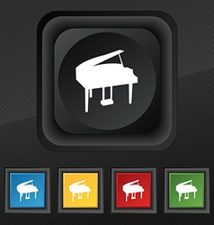 Grand piano icon symbol Set of five colorful vector