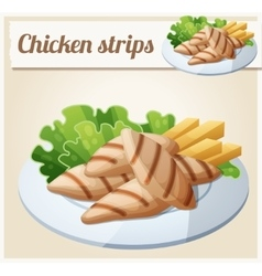 Grilled chicken strips Detailed Icon vector
