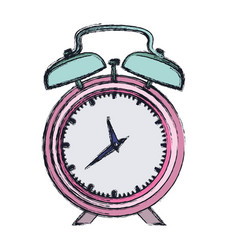 Hand drawing color pink alarm clock and thick vector