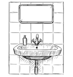 Hand drawing of sink and mirror in bathroom vector
