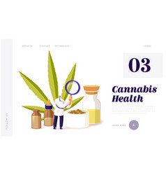 Herbal alternative medicine landing page template vector