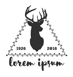 Hipster logo with silhouette of deer and twigs vector