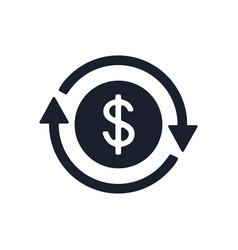 Icon dollar sign in circle made arrows coin vector