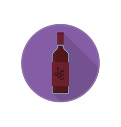 icon of alcohol bottle with old red wine vector image vector image