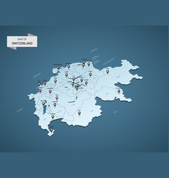 Isometric 3d switzerland map concept vector