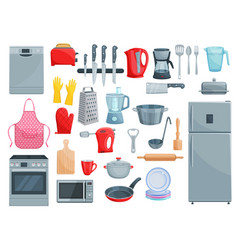 Kitchen appliances and dishware icons set vector