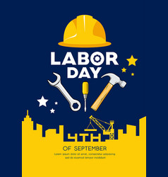 labor day engineer cap with wrench hammer vector image