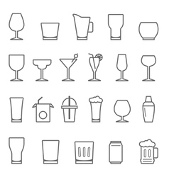 Lines icon set - glass and beverage vector
