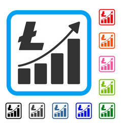 litecoin growth graph framed icon vector image