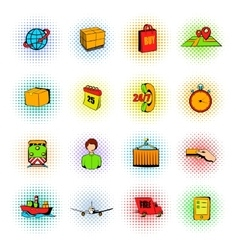 Logistics comics icons vector image