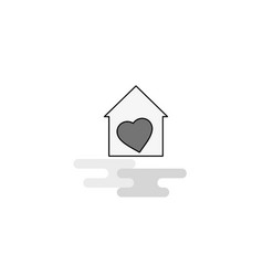 love house web icon flat line filled gray icon vector image