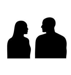Man and woman silhouette couple faces in profile vector
