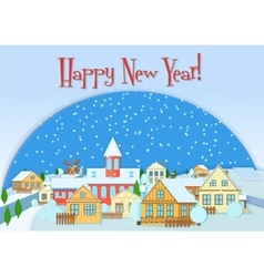 Merry Christmas card cute little town in vector