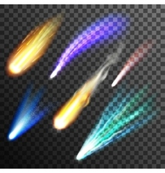 Meteor and comet transparent background vector