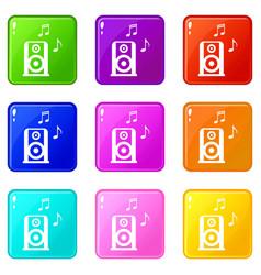 portable music speacker set 9 vector image