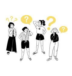 Portraits of thoughtful people smart women sketch vector