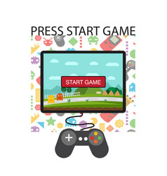 press start game playing tv game background vector image