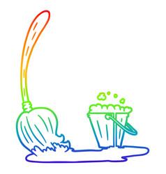 Rainbow gradient line drawing cartoon mop and vector