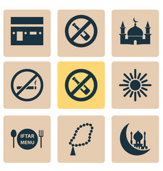 Religion icons set collection of dishes beads vector