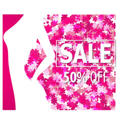 sale banner with woman silhouette vector image