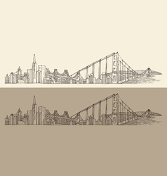 San Francisco big city architecture vintage vector