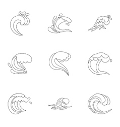 Sea waves icons set outline style vector image