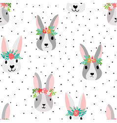 seamless pattern cute bunnies wearing flower vector image