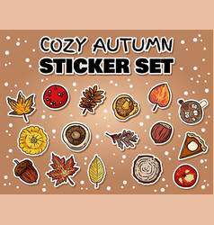 Set cute cartoon autumn stickers collection of vector