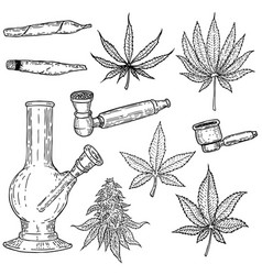 Set of hand drawn cannabis leaves bong smoking vector