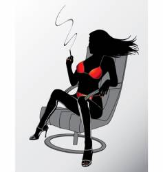 sexy smoking woman vector image vector image