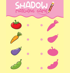Shadow matching game template vector