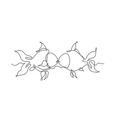 single continuous line drawing two goldfishes vector image