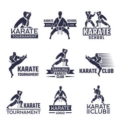 Sport labels set for fighting club karate and vector