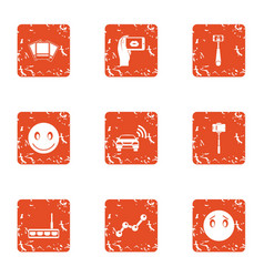 Street photo icons set grunge style vector