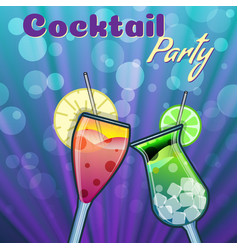 Summer cocktails party banner invitation flyer vector