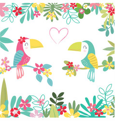 sweet a couple parrot in tropical forest pattern vector image