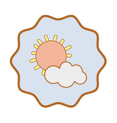 Symbol sun and cloud cartoon character vector