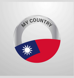 taiwan my country flag badge vector image