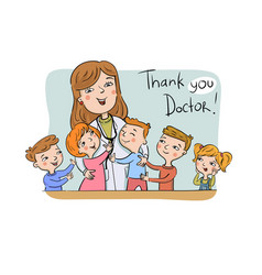Thank you doctor greeting card vector